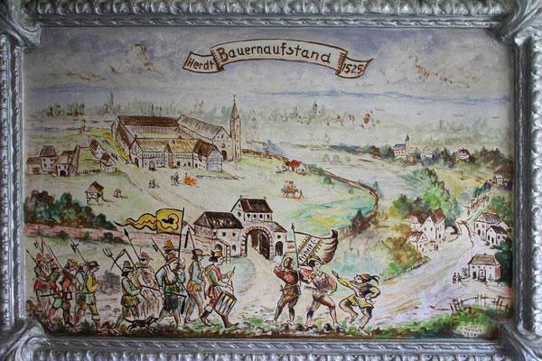 Wandbild, gemalt von Hermann Hänlein - Szene aus dem Bauernkrieg.
