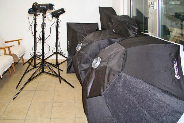 Auch die Studioblitzanlage samt diverser Lichtformer ist inzwischen eingetroffen.