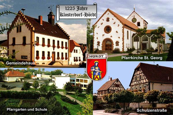 Briefkarte mit 4 Ortsansichten von Hördt.