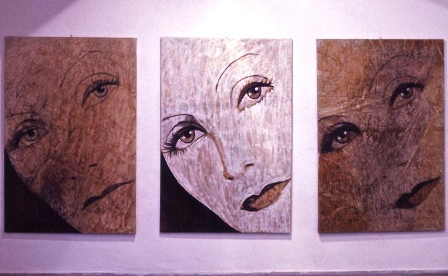 Forme e metafore, Trittico, olio su tela, cm 180x360