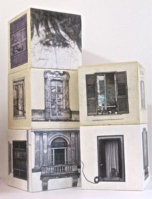 Un coup de dés…, foto con elaborazioni digitali e interventi manuali su cubi in legno, cm.20x20x20, 2014