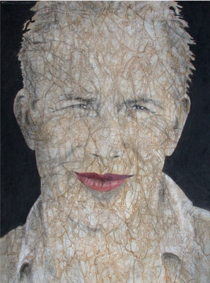 L'enigma di un sorriso, olio e pigmenti su tela, cm80x60