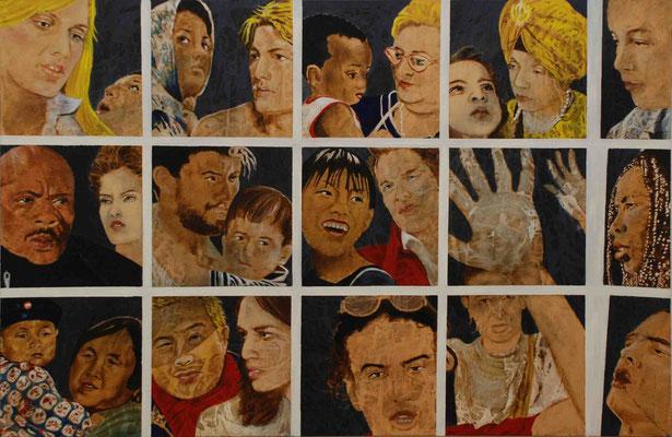 Confronti, (PUBBLICITTA'), olio su tela,  cm.95x145, 1999-2002