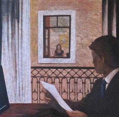 Finestre nella trama del racconto, olio su tela, cm 100x100, 2013