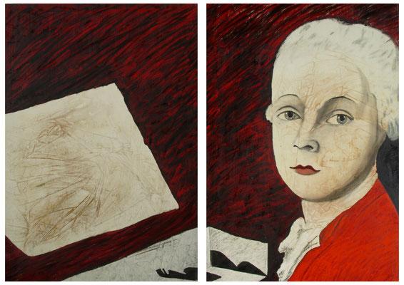 Ritratto spurio,  dittico, olio, oro e pigmenti su tela, cm 150x200