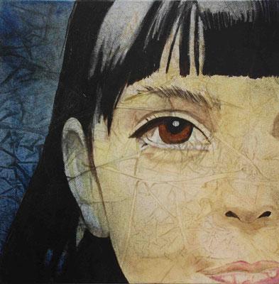 Bambina di Rue des Rosiers, (PUBBLICITTA'), olio su tela, cm.50x50, 2005