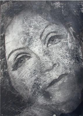 Graffi di Garbo, olio magro su carta, cm 100x70