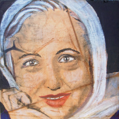 Particolare dell'installazione, olio su tavola, Shirin Ebadi, cm20x20x20