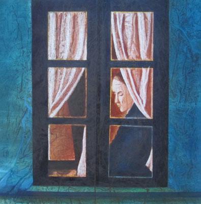 Tu, finestra nella notte, olio su tela, cm60x60, 2013