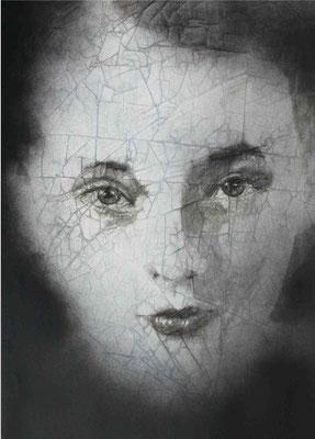 Dròmoi, Marguerite Duras, cm.100x70, olio magro su carta copia
