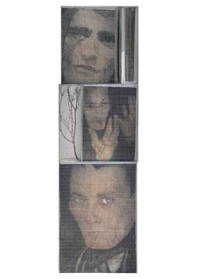 Lo sguardo di Artaud, assemblato a totem, cm. 240x70x40, 2006