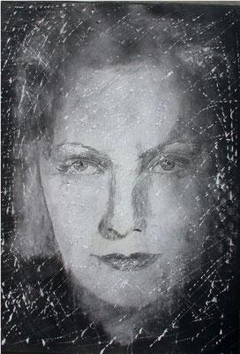 Graffi di Garbo 2, olio magro su carta, cm 100x70