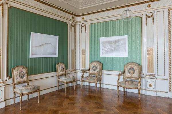 Musikzimmer im Schloss Ratibor, Winterlandschaft und Gläsernes Haar (aus der Weißen Serie), Foto: Gerhard Schlötzer