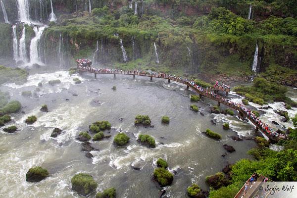 Blick von oben auf den Steg mitten im Wasserfall