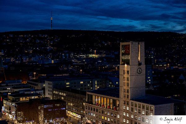 Rathaus Stuttgart und Fernsehturm