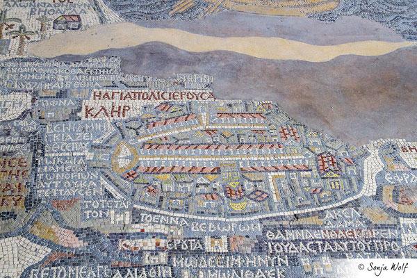 Palästina-Landkarte in der St. Georgskirche