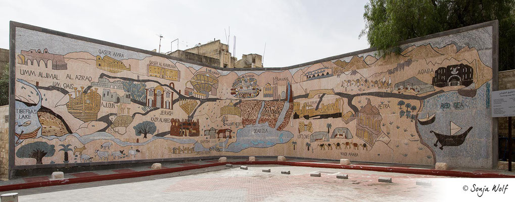 Mosaik-Landkarte von Jordanien beim Visitor Center