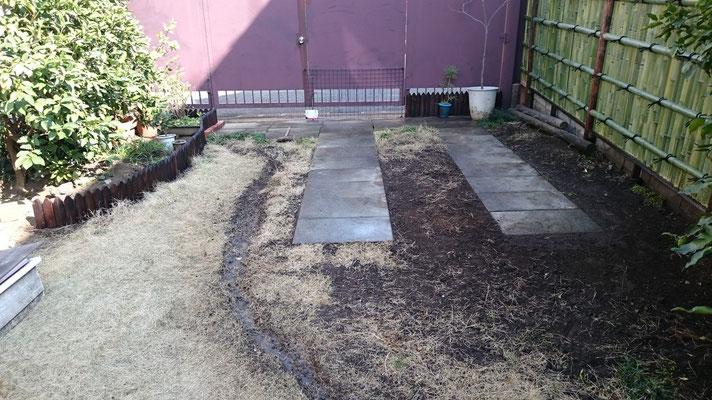 コンクリート石敷き直し
