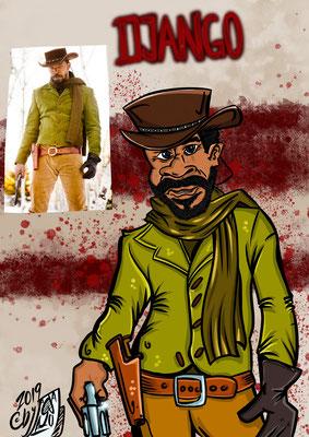 Jamie Foxx spielt Django Karikatur by Tanja Graumann