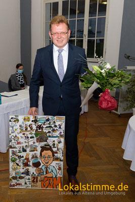 Dr. Andreas Hollstein Bürgermeister Altena zur Verabschiedung Karikatur Copyright by Tanja Graumann