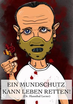 Sir Anthony Hopkins spielt Hannibal Lecter Karikatur by Tanja Graumann