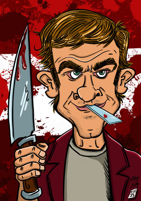 Michael C. Hall spielt den Serienmörder Dexter Morgan Karikatur Copyright by  Tanja Graumann