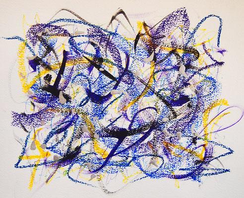 無題 210626 アクリル絵具、色鉛筆、オイルパステル、水彩紙 221×276mm