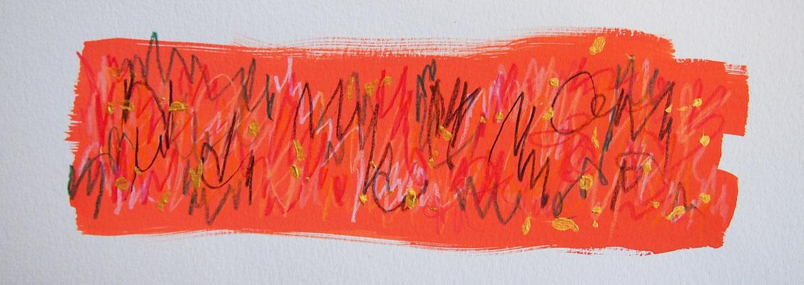 無題 210502 アクリル絵具、色鉛筆、水彩紙 90×255mm (ドローイング)