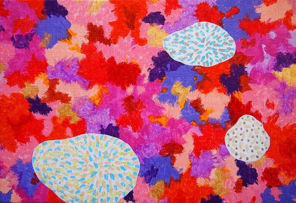 "God's messenger ""microorganisms #2"",  Acrylic on canvas,  158×227mm"