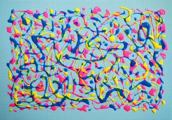 楽園の創造 #3 アクリル、ストリングジェルメディウム、キャンバス 158×227mm