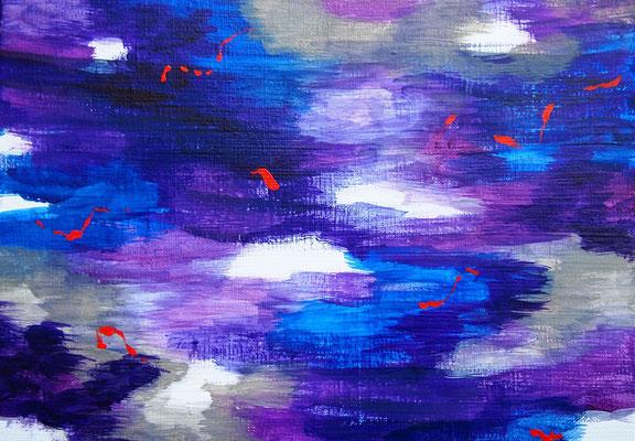 雲と波動 #1 アクリル、キャンバス 158×227mm