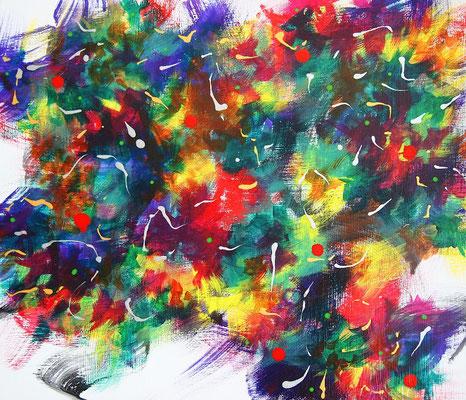 Undulation #51,  Acrylic on canvas,  455×530mm