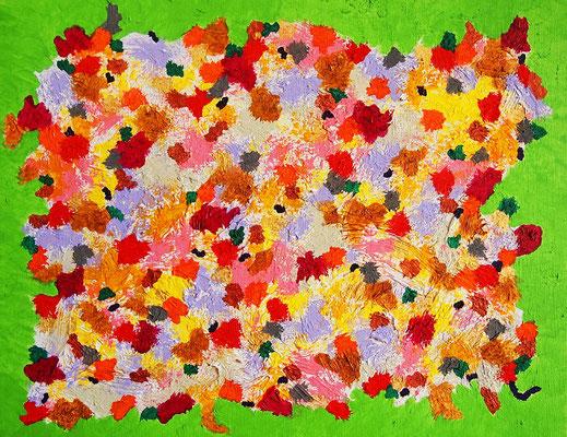 Flowers #12 アクリル絵具、モデリングペースト、F6キャンバス 318×410mm