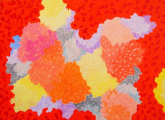 楽園の春 アクリル、キャンバス 242×333mm