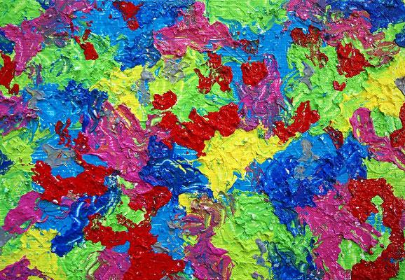 地球の楽園 アクリル、ホワイトオペークフレーク、キャンバス 158×227mm