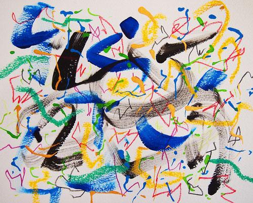 無題 210831 アクリル絵具、色鉛筆、オイルパステル、水彩紙 220×277mm
