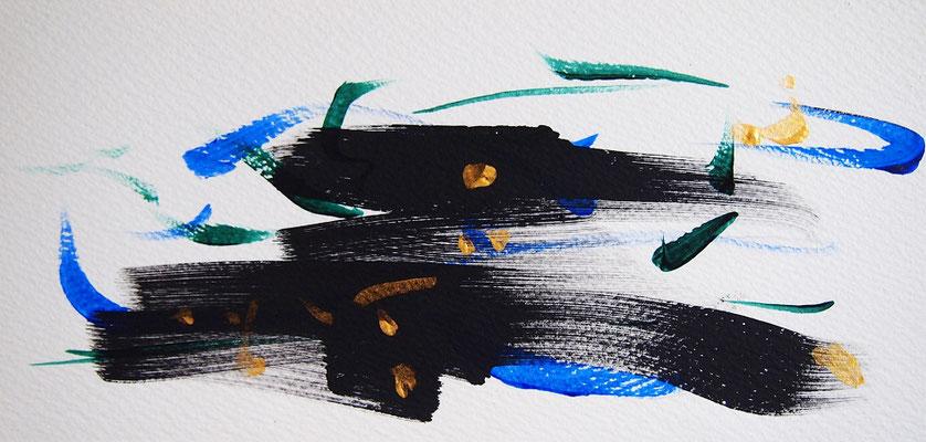 無題 210825 アクリル絵具、水彩紙 111×230mm