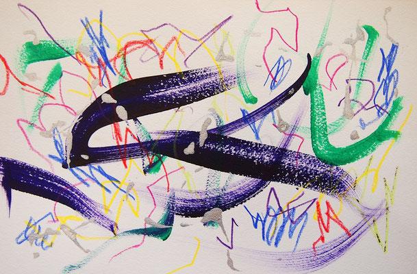 無題 210908 アクリル絵具、色鉛筆、水彩紙 150×230mm