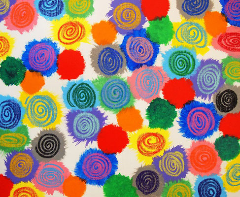 flowers #7 アクリル、オイルパステル、キャンバス 500×606mm