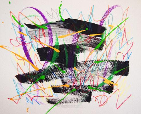 無題 210810 アクリル絵具、色鉛筆、水彩紙 221×278mm