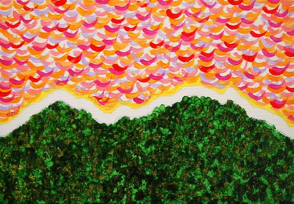 朝焼け アクリル、キャンバス 158×227mm