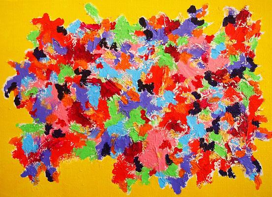 Flowers #11 アクリル絵具、モデリングペースト、F4キャンバス 242×333mm