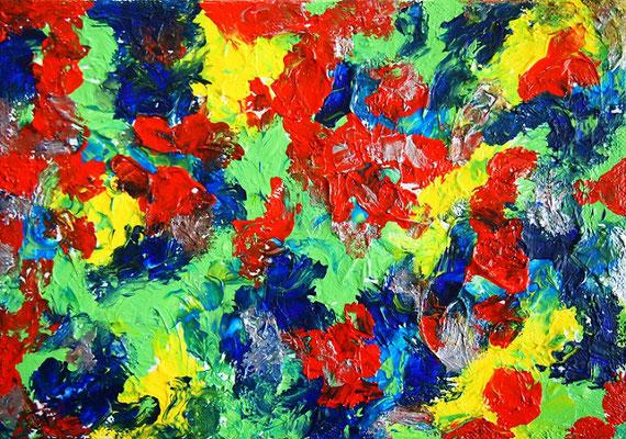 Flowers #9 アクリル絵具、モデリングペースト、SMキャンバス 158×227mm
