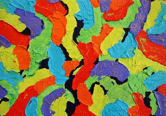 地球の楽園 #5 アクリル、グラスビーズ、キャンバス 158×227mm