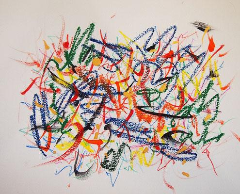 無題 210621 アクリル絵具、色鉛筆、オイルパステル、水彩紙 221×276mm