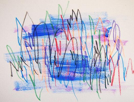 無題 210808 アクリル絵具、色鉛筆、水彩紙 140×182mm