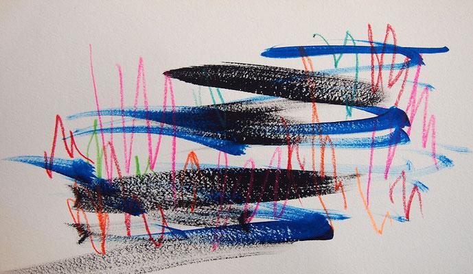 無題 210703 アクリル絵具、色鉛筆、水彩紙 140×240mm