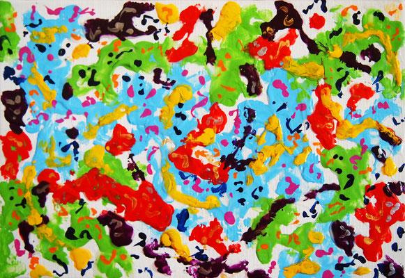 Energy change #2,  Acrylic and String gel medium on canvas,  158×227mm