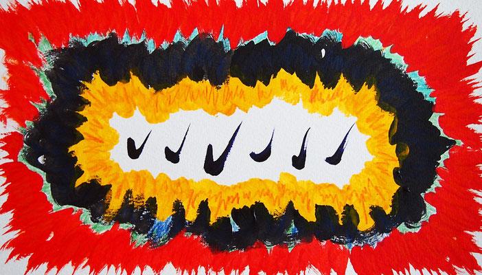 無題 210424 アクリル絵具、色鉛筆、水彩紙 135×240mm