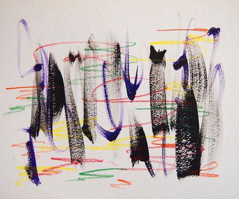 無題 210807 アクリル絵具、色鉛筆、水彩紙 140×169mm
